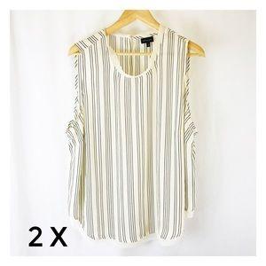 Women's 2X Who What Where Blouse Top Shirt Striped